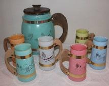 7 Piece Vintage SiestaWare Set, 6 Wooden Handled Glasses and 1 Large Pitcher, Bareware Set, Tiki Bar Set, Poolside Dishware, Lemonade Glass
