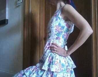 Laura Ashley 80's Floral Summer Dress 10 USA 8
