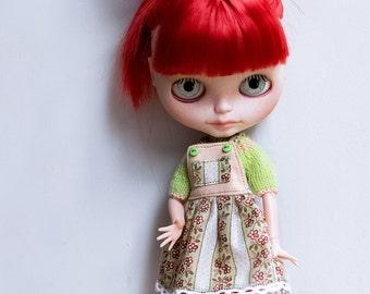 Jumper skirt and Sweater for Blythe doll - skirt with suspenders and sweater for Blythe doll