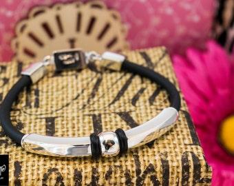 Bracelet, Sterling Silver and black rubber