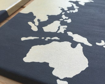 World Map *Custom Colors* Painted Canvas Set of Three Painted Globe