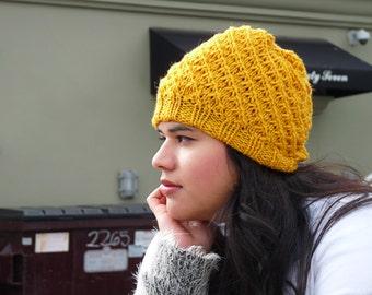 Spiral Knit Mustard Yellow Beanie Winter Hat