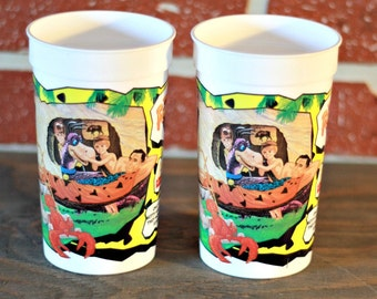 Sets of 2 1994's McDonald Plastic cup The Flintstones, Fred Flintstones glass, Flintstones mug, Hanna-Barbera mug, Mcdonald glass, 90s movie