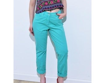 Vintage high waisted turquoise mom trousers