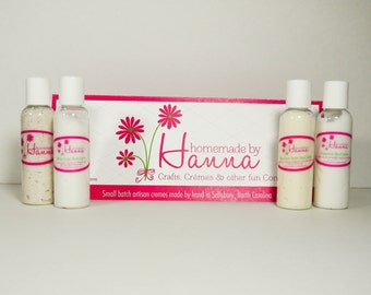 Travel Trio (3)- 2oz -  ultra moisturizing - artisan Hand Creme - 3 varieties- Peppermint-Citrus Cocoa Butter - White Ginger