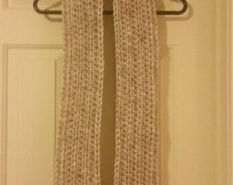 Handmade Men's extra long crochet scarf in off-white/eggshell