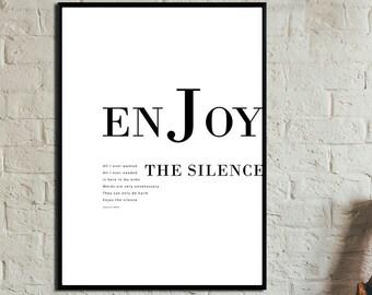 Enjoy the silence Poster. Instant Download. Wall art. Abstract art. Print art. Modern art. Typography Poster. Digital art.