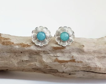 Flower Studs - Simple Silver Ear Studs - Dainty Earrings - Amazonite Earrings - Cute Gift for Girlfriend - Floral Jewelry - Sterling Silver