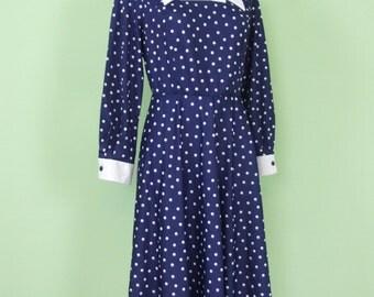 70s polka dots dress #size L/XL #blue/white #vintage