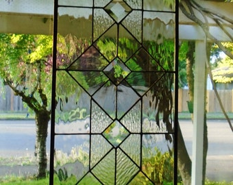 "Clear Textured Stained Glass Panel with Bevels, Black Lines and ""Antiqued"" frame, 12x24"""