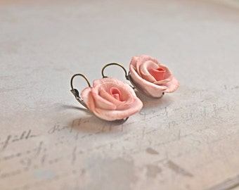 Rustic rose earrings, Shabby Rose earrings Pale Pink, rose dangle Shabby flower, Vintage Inspired art, French Cottage roses, gift for friend
