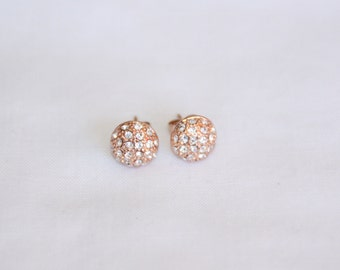 Clear Swarovski Crystal Studs in 18k Rose Gold Plate. Rose gold earrings. Stud earrings. Crystal stud earrings. Gift for her. Bridesmaid