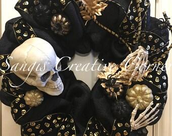 Halloween Wreath, Fall Wreath, Halloween decor, Skeleton Wreath, Black and Gold Wreath, Fall decor, October 31, Wreaths, Autumn Wreath