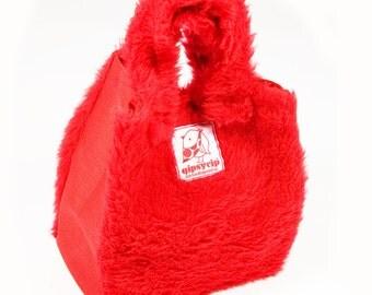 Bag mini-shopper in red plush and cordura