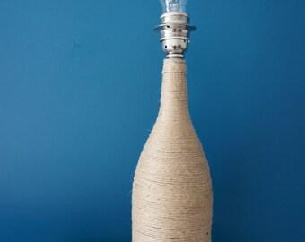 Upcycled rope bottle lamp base