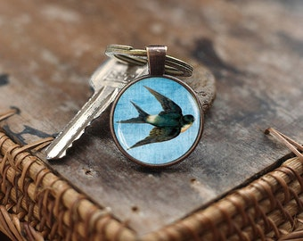 Swallow Keychain, Bird jewelry, Animal Keychain, Bird Keychain, Vintage Swallow art Keychain, Swallow gift