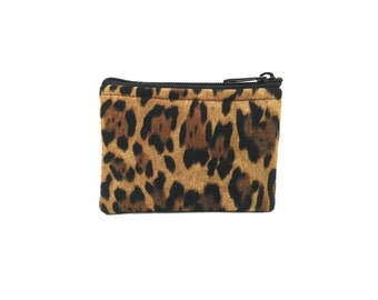 Leopard Print Coin Bag // Change Purse // Pouch