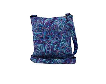 Blue Paisley Crossbody Bag // Sling Bag // Crossbody Purse // Shoulder Bag // Hipster