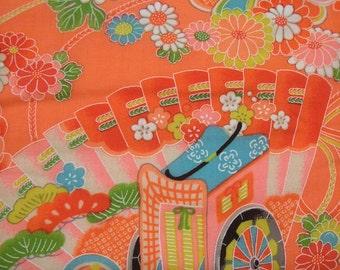 117: Vintage girl's kimono/light woolen fabric/colorful/pink/Japanese apricot/ume/fan/chrysanthemum/carriage/flower/handmade/material/japan