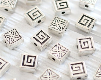 10pc silver slider beads, square beads, spacer beads, bracelet beads, spiral metal beads, leather components, bead spacer, metal spacers