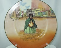 """Vintage Sairey Gamp Royal Doulton Dickens Ware, Made in England, Large 10 1/2"""" Diameter Collectors Plate, D6327S, Charles Dickens"""