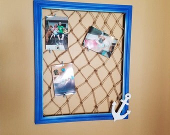 nautical frame blue frame glassless frame large frame frame with net multi picture multi photo frame large blue frame memory frame