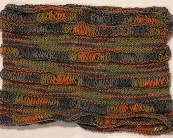 Knitted, dropped stitch multi color Cowl
