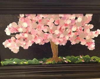 Framed Cherry Tree in Repose - acrylics