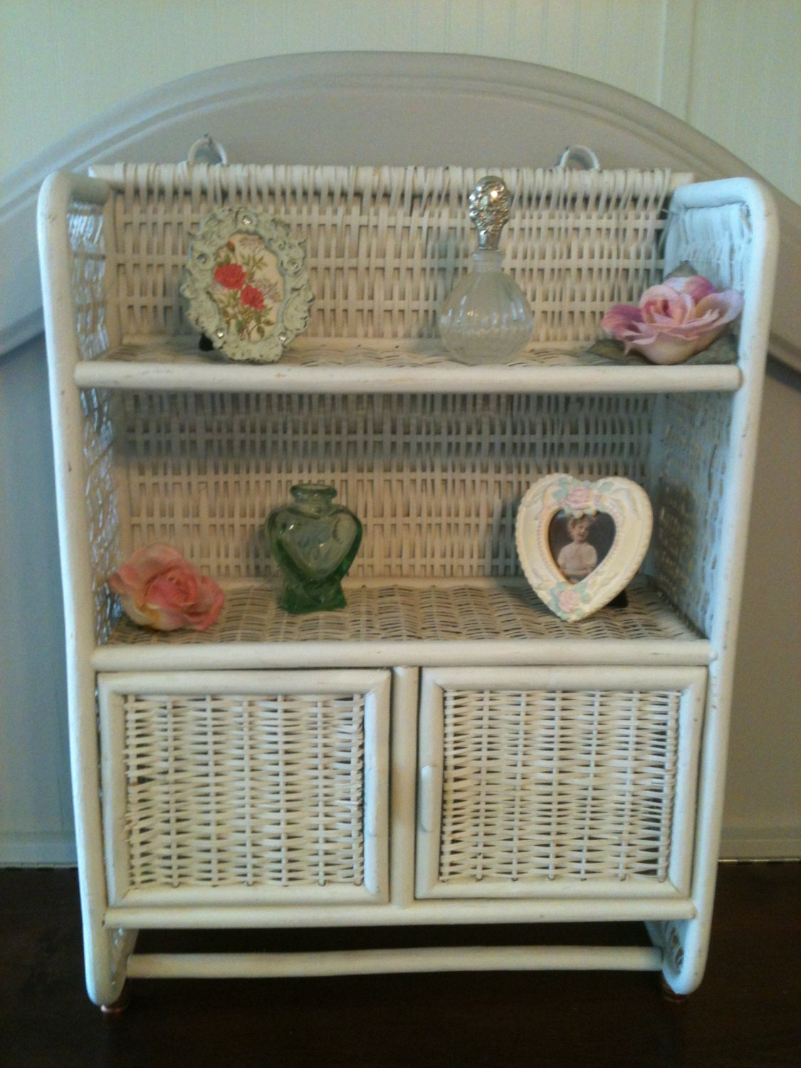 vintage white wicker bathroom medicine cabinet shelf with