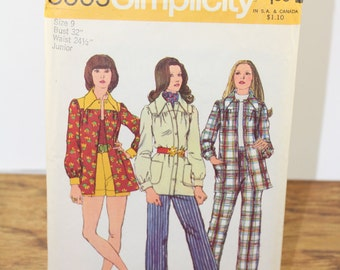 Vintage Pattern. SIMPLICITY Pattern 5005. 1970s Pant Suit / Button Up Coat / Shorts / Smock Jacket Pattern. 70s Patterns. Wide Leg Pants