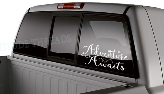 Adventure Awaits Car Window Rear Window Decal Laptop Sticker - Back window decals for cars