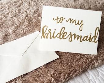 handwritten calligraphy bridesmaid card