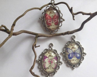 Butterfly Vintage Glass Domed Pendant