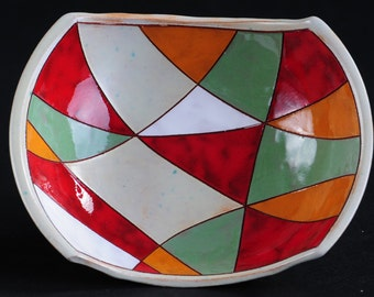 Hand made ceramic bowl, hand-painted and  hand-glazed