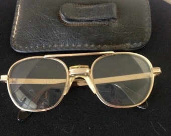 Vintage Z87 Airco U.S.A. Gold Tone Aviator-Style Glasses With Slip-in Case With Flap---Must-Have, Iconic Wear for Nerds