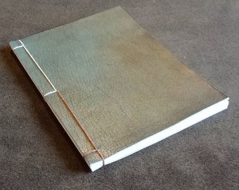 Unique Satin Green Leather Stab Bound Notebook