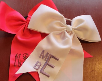 Monogrammed Hair bows - by machine embroidery.