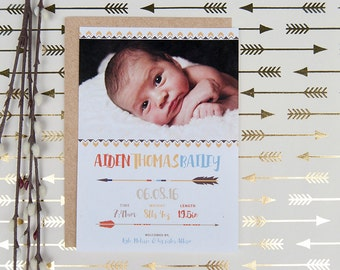 Tribal Birth Announcement, Newborn Photo, Arrows, New Baby Announcement, Tribal Baby Boy Announcement – DEPOSIT