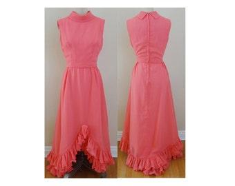 1970s Pink Sleeveless Lettuce Edge Ruffle Hem Maxi Dress