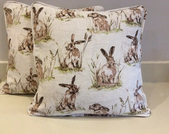 Pair of hares design cushion covers