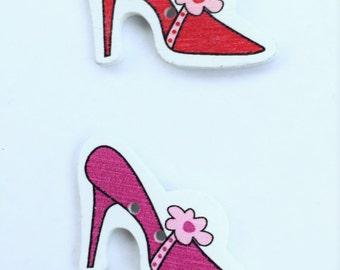 High Heel Womens Shoe Button - Red Flower Shoe Pink Button - Craft Scrapbooking Embellishment Notions Wood Buttons - Red Button- Wood Button
