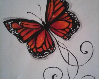 Butterfly Orange/Black