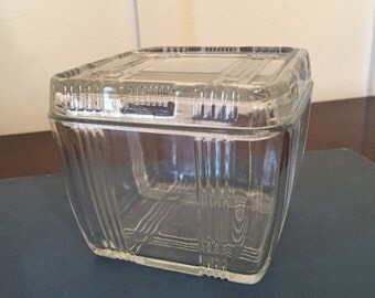 Vintage Clear Glass Refrigerator Box 4 Inch by 4 Inch Square with Embossed Criss-Cross Pattern