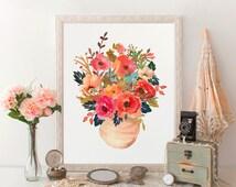 Floral art modern artwork, floral watercolor poster, bouquet wallart, rustic decor, wallart printable, room decor, botanical print, download