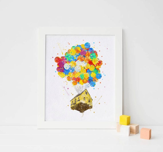 Pixar Up - Balloon House -  Up Pixar - Disney Art, Printable poster, watercolor nursery art, printable nursery decor, pixar poster pixar art