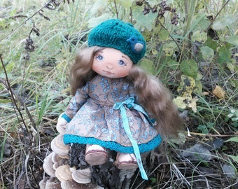 Cloth doll Art textile doll collecting doll Fabric doll Soft doll Rag doll Doll in green dress OOAK doll in hat Gift for her Interior toy