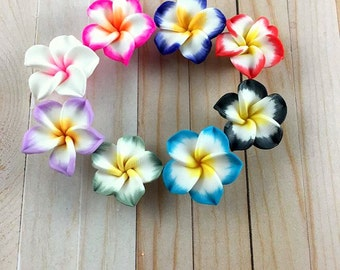 8 Mixed Polymer Clay Flowers - Plumeria Flower Beads - Fimo Beads - Fimo Clay - Jewelry Supplies - Jewelry Findings, B1006