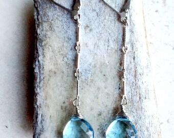 Blue Topaz Earrings--Gemstone Earrings