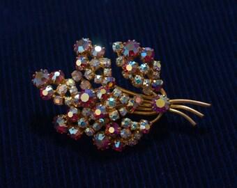 Vintage Crystal Aurora Borealis Brooch