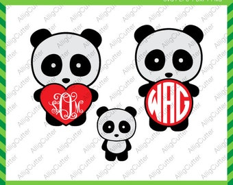Panda Monogram Heart Valentine SVG DXF PNG eps animal Cut File for Cricut Design, Silhouette studio, Sure Cuts A Lot, Makes the Cut and more